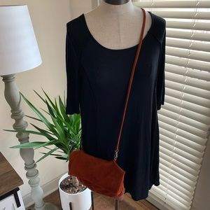 Free People suede clasp side purse